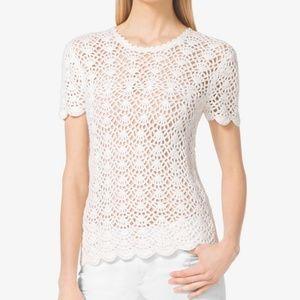 Michael Kors White Crocheted Sweater Tee